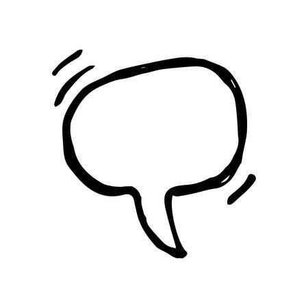 Sketch Speech Bubble. Hand drawn blank Speech Bubble. Dialog empty cloud on white background. Vector illustration.