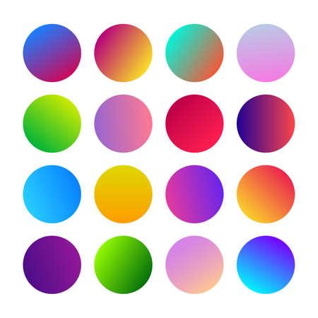 Round Gradients spheres. Set of sixteen trendy multicolored Gradients . Vector illustration Imagens - 129068566