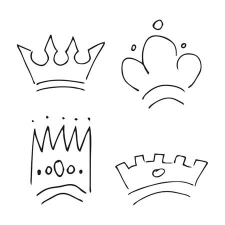 Hand drawn crowns. Set of four simple graffiti sketch queen or king crowns. Royal imperial coronation and monarch symbols. Black brush doodle isolated on white background. Vector illustration.