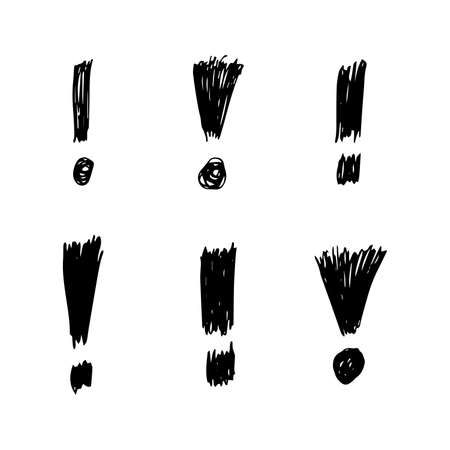 Set of six hand drawn exclamation mark symbols. Black sketch exclamation mark symbol on white background. Vector illustration