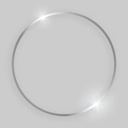 Shiny frame with glowing effects. Silver round frame with shadow on grey background. Vector illustration Standard-Bild - 129069182