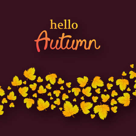 Autumn background with maple yellow leaves and place for text.  Card design for fall season banner or poster. Vector illustration Illusztráció