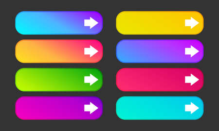Colorful gradient buttons with arrows. Set of eight modern abstract web buttons. Vector illustration