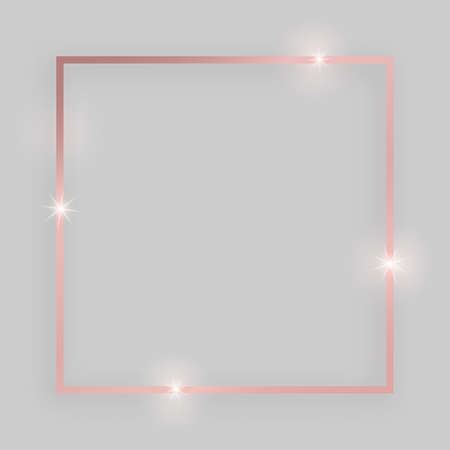 Shiny frame with glowing effects. Rose gold square frame with shadow on grey background. Vector illustration Ilustrace