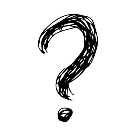 Hand drawn question mark symbol. Black sketch question mark symbol on white background.