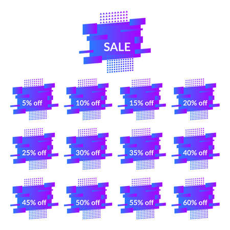 Set of blue sale banners on the modern gradient shape. Geometric trendy banners with discounts of five to sixty percent.  Modern gradient shape with promotion text. Vector illustration.
