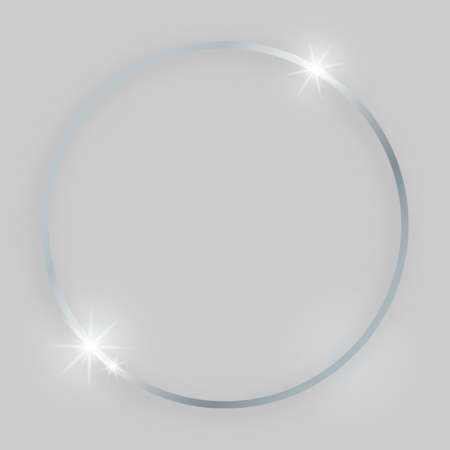 Shiny frame with glowing effects. Silver round frame with shadow on grey background. Vector illustration