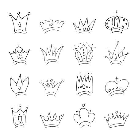 Hand drawn crowns. Set of sixteen simple graffiti sketch queen or king crowns. Royal imperial coronation and monarch symbols. Black brush doodle isolated on white background. Vector illustration.
