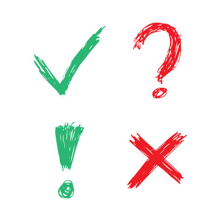 Hand drawn check, cross, question mark and exclamation mark symbols. Set of four green and red sketch symbols. Vector illustration