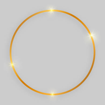 Shiny frame with glowing effects. Gold round frame with shadow on grey background. Vector illustration