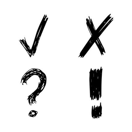 Hand drawn check, cross, question mark and exclamation mark symbols. Set of four black sketch symbols. Vector illustration Çizim