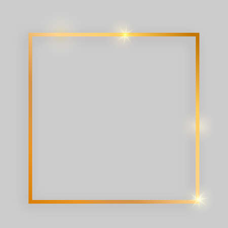 Shiny frame with glowing effects. Gold square frame with shadow on grey background. Vector illustration