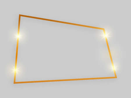 Shiny frame with glowing effects. Gold quadrangular frame with shadow on grey background. Vector illustration
