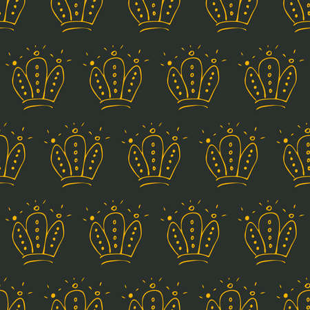 Hand drawn crowns. Seamless pattern of simple graffiti sketch queen or king crowns. Royal imperial coronation and monarch symbols. Yellow brush doodle isolated on dark background. Vector illustration. 写真素材 - 129690330