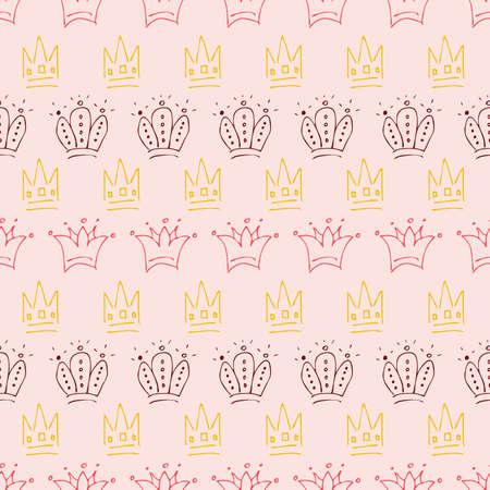 Hand drawn crowns. Seamless pattern of simple graffiti sketch queen or king crowns. Royal imperial coronation and monarch symbols. Colorful brush doodle isolated on coral background. Vector illustrati
