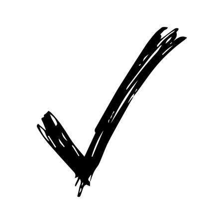Hand drawn check symbol. Black sketch check symbol on white background. Vector illustration Ilustração