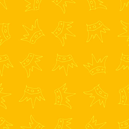 Hand drawn crowns. Seamless pattern of simple graffiti sketch queen or king crowns. Royal imperial coronation and monarch symbols. Yellow brush doodle isolated on yellow background. Vector illustratio