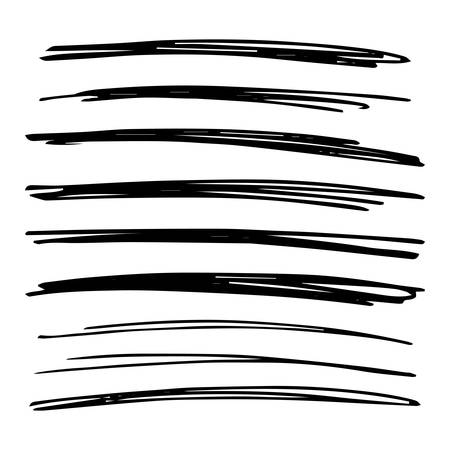 Lines hand drawn grunge set. Abstract black doodle lines isolated on white background. Vector illustration Stock Vector - 129898173