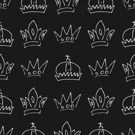 Hand drawn crowns. Seamless pattern of simple graffiti sketch queen or king crowns. Royal imperial coronation and monarch symbols. White brush doodle isolated on black background. Vector illustration.