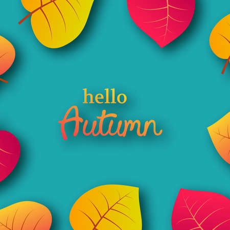 Autumn background with maple yellow leaves and place for text.  Card design for fall season banner or poster. Vector illustration Stock fotó - 130093183