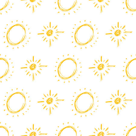 Hand drawn sun. Seamless pattern of simple sketch sun's. Solar symbol. Yellow doodle isolated on white background. Vector illustration.