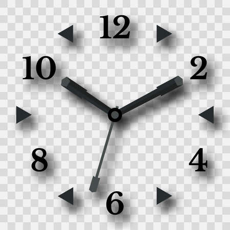 Watch dial on a transparent background with a shadow. Vector illustration Иллюстрация