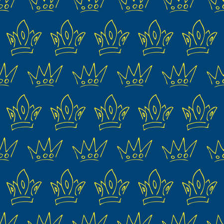 Hand drawn crowns. Seamless pattern of simple graffiti sketch queen or king crowns. Royal imperial coronation and monarch symbols. Yellow brush doodle isolated on blue background. Vector illustration.