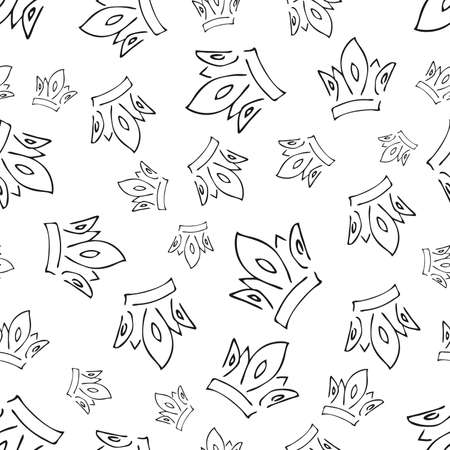 Hand drawn crowns. Seamless pattern of simple graffiti sketch queen or king crowns. Royal imperial coronation and monarch symbols. Black brush doodle isolated on white background. Vector illustration.  イラスト・ベクター素材