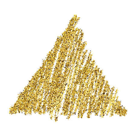 Golden paint hand drawn glittering triangle on a white background. Background with gold sparkles and glitter effect. Empty space for your text.  Vector illustration
