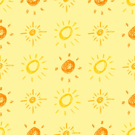 Hand drawn sun. Seamless pattern of simple sketch sun's. Solar symbol. Yellow doodle isolated on yellow background. Vector illustration.