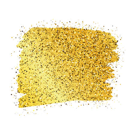 Golden Paint Glittering backdrop on a white background. Background with gold sparkles and glitter effect. Empty space for your text. Vector illustration Vetores