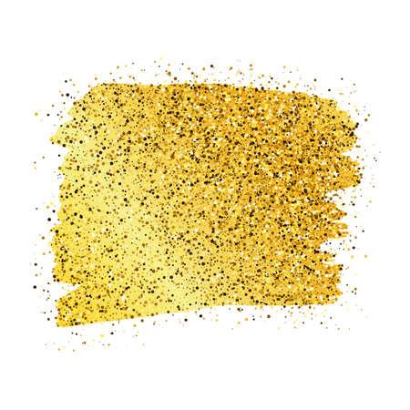 Goldene Farbe Glitzernde Kulisse auf weißem Hintergrund. Hintergrund mit Goldfunkeln und Glitzereffekt. Leerer Platz für Ihren Text. Vektor-Illustration Vektorgrafik