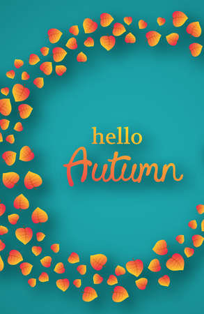Autumn background with maple yellow leaves and place for text.  Stories banner design for fall season banner or poster. Vector illustration