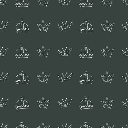 Hand drawn crowns. Seamless pattern of simple graffiti sketch queen or king crowns. Royal imperial coronation and monarch symbols. White brush doodle isolated on black background. Vector illustration. Фото со стока - 130095530