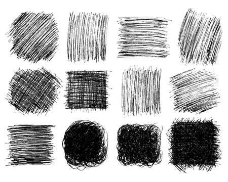 Cuadrados grandes de garabatos dibujados a mano. Conjunto de manchas de doodle monocromáticas abstractas aisladas sobre fondo blanco. Ilustración vectorial Ilustración de vector