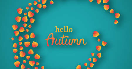 Autumn background with maple yellow leaves and place for text.  Banner design for fall season banner or poster. Vector illustration Standard-Bild - 130260691