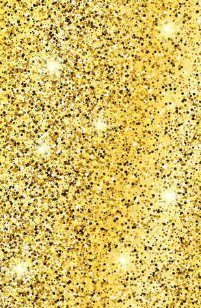 Golden glittering background with gold sparkles and glitter effect. Stories banner design. Empty space for your text.  Vector illustration