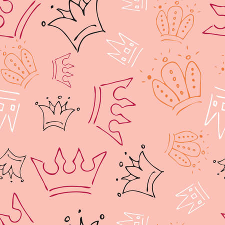 Hand drawn crowns. Seamless pattern of simple graffiti sketch queen or king crowns. Royal imperial coronation and monarch symbols. Colorful brush doodle isolated on coral background. Vector illustration. Stock Illustratie