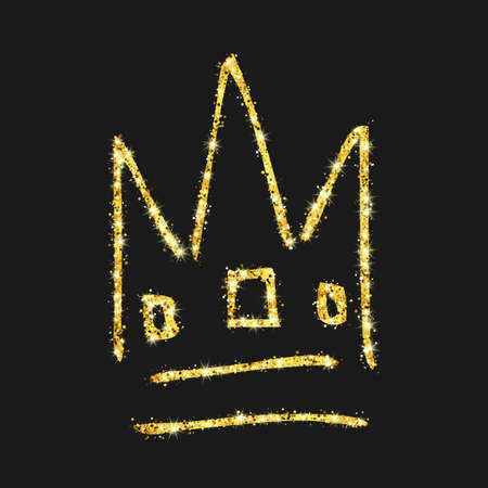 Gold glitter hand drawn crown. Simple graffiti sketch queen or king crown. Royal imperial coronation and monarch symbol isolated on dark background. Vector illustration Stock Illustratie