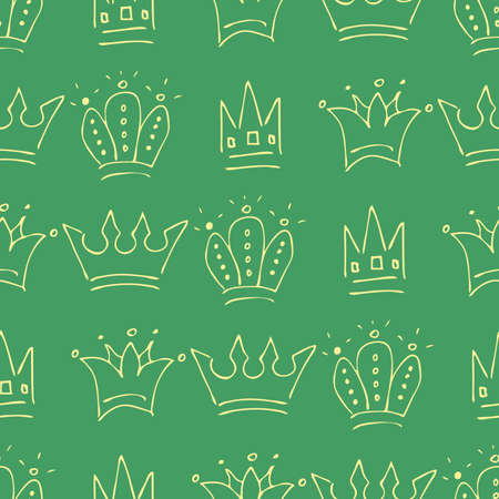 Hand drawn crowns. Seamless pattern of simple graffiti sketch queen or king crowns. Royal imperial coronation and monarch symbols. Yellow brush doodle isolated on green background. Vector illustration.