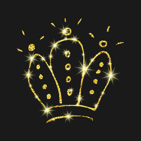 Gold glitter hand drawn crown. Simple graffiti sketch queen or king crown. Royal imperial coronation and monarch symbol isolated on dark background. Vector illustration.