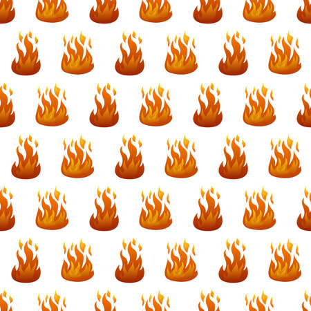 Seamless pattern with fire flame on white background. Vector illustration.  イラスト・ベクター素材