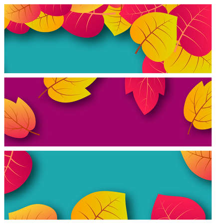 Set of three backgrounds with autumn leaves and place for your text.  Banner design for fall season banner or poster. Vector illustration