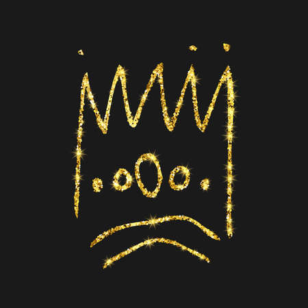 Gold glitter hand drawn crown. Simple graffiti sketch queen or king crown. Royal imperial coronation and monarch symbol isolated on dark background. Vector illustration. Ilustração
