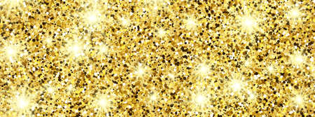 Golden glittering background with gold sparkles and glitter effect. Banner design. Empty space for your text.  Vector illustration 向量圖像