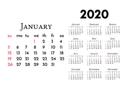Calendar for 2020 isolated on a white background. Sunday to Monday, business template. Vector illustration 일러스트