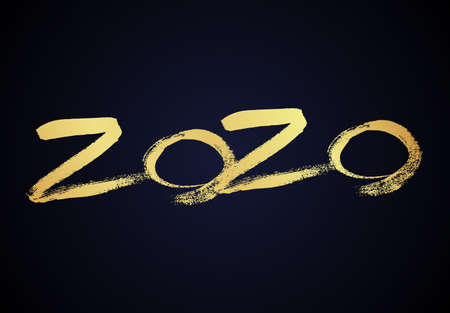 2020 hand drawn numbers. Grunge calligraphy lettering in gold isolated on dark background. Happy New Year and happy holidays. Vector illustration. Çizim