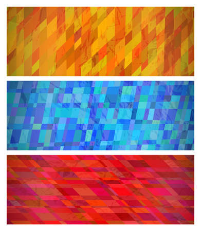 Abstract background with colorful rectangles. Set of three beautiful futuristic dynamic geometric banner design pattern. Vector illustration Çizim