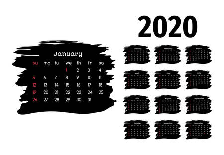 Calendar for 2020 isolated on a white background. Sunday to Monday, business template. Vector illustration Иллюстрация