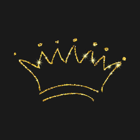 Gold glitter hand drawn crown. Simple graffiti sketch queen or king crown. Royal imperial coronation and monarch symbol isolated on dark background. Vector illustration. Stock Illustratie